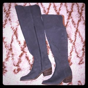 Lucky Brand Gray Knee High Leather Boots size 9.5